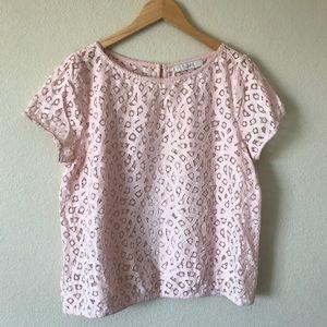 LOFT Lace Short Sleeve Top Blush Pink